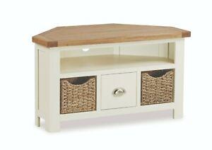 Hampshire Cream Painted Oak Corner TV Unit / Modern Media Stand / Basket Storage