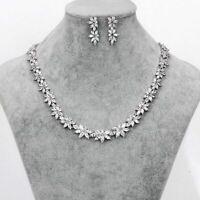 Cubic Zirconia CZ Flower Necklace Earring Wedding Bridal Sparkling Jewelry Set