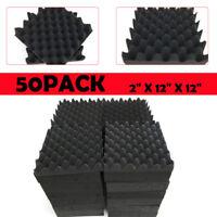 "Acoustic Foam 50Pack Black Wedge Soundproof Studio tiles 12x12x2"" Best"
