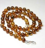 "Amber Natural Round Brown Ball 7mm Silk Knotted 18"" Necklace .925 Silver Clasp"