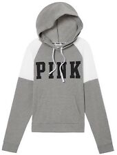 NEW! Victoria's Secret PINK Logo Crosover Pullover Hoodie Sweatshirt Grey Small