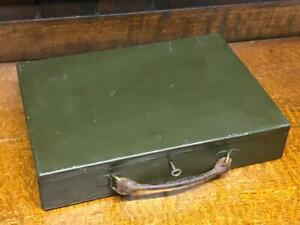 Vintage Military Green Metal Tole Document Safe Box  [6791]