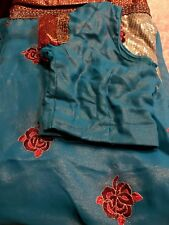 Designer Georgette Shimmer Embroidered Party Sari With Stitched Blouse
