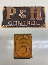 New ListingP & H Crane Control Plate Tin Sign 6/9 Cast Iron