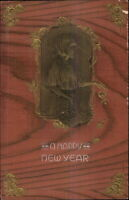 New Year - ART NOUVEAU Gold Embossed Child w/ Flowers c1910 Postcard