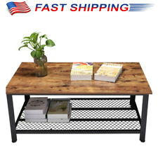 2-Tier Wood Coffee Table Rectangular Living Room with Reticulate Storage Shelf