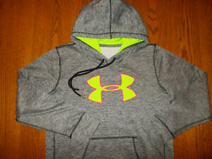 UNDER ARMOUR HEATHER GRAY HOODED SWEATSHIRT WOMENS LARGE EXCELLENT CONDITION
