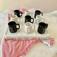 "Rae Dunn NEW Tic-Tac-Toe Game ""XOXO"" Full Ceramic Set 10 Pieces Espresso Mugs"