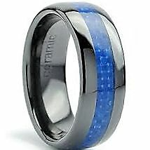 8mm Men's Black Ceramic Ring with Blue Carbon Fiber Inlay Comfort Fit