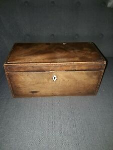 Vintage antique  tea caddy with three compartments for refurbishment