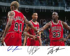Michael Jordan Dennis Rodman Pippen signed 8X10 inch photo picture poster rp