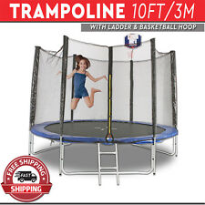 Trampoline with Ladder Basketball Hoop Safety Net Enclosure Round Mat 10FT/3M