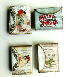 MINIATURE POCKET CHRISTMAS Themed JOURNAL ephemera note pad pictures book gift