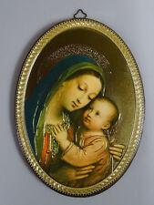 Cuadro de Pared Laminado Madera Hecho a Mano Jesús en el Schoß María 20 28