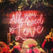 "All You Need Is Love Bar Decor Pub Acrylic Real Glass Neon Light Sign 20""x16"""