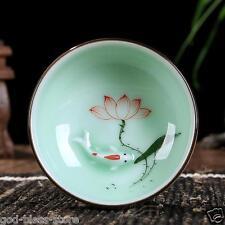 2 tea cups Boutique celadon tea cup Goldfish lotus design handmade craft ceramic