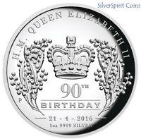2016 QUEEN ELIZABETH 90th BIRTHDAY Silver Proof Coin