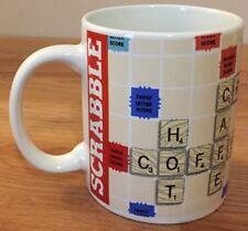 "SCRABBLE ceramic coffee MUG w/coffee-related words 3.75""H"
