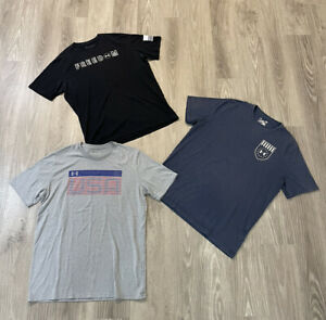 LOT Of 3 Under Armour USA Freedom USA Military T Shirt Workout Gym Size Large