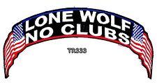 Lone Wolf No Club Banner Top Rocker for Biker Vest Jacket Back Patch TR333
