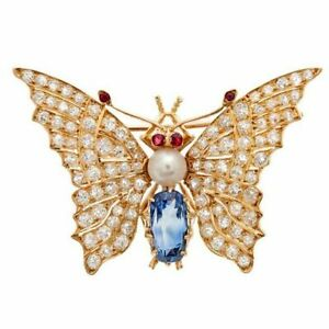 2.90ct Round Diamond 14k Yellow Gold Ruby Pearl Sapphire Butterfly Brooch Pin