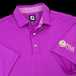 FootJoy PGA Golf Club Men's Size Large Stretch Polo Shirt Magenta Pink Tour