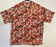Ivy Crew Island Wear Button-Up Hawaiian Shirt Size Large, Red Floral Theme Tiki