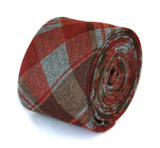 Frederick Thomas slim mens wool tweed tie in red, grey & brown check FT2078