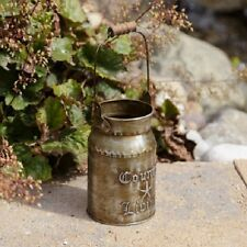 """Primitive Country Rustic """" COUNTRY LIVING """" Petite Metal Milk Can With Handle"""