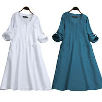Womens Solid Long Sleeve V Neck Pocket Kaftan Summer Casual Dress Tunic Sundress