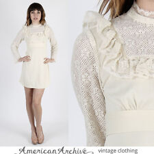 Vintage 70s Boho Wedding Dress Sheer Floral Lace Hippie Prairie Bell Slv Mini S