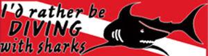 Scuba Tauchen Stoßfänger Sticker Aufkleber I'D Rather Be Tauchen Mit Haie DS69
