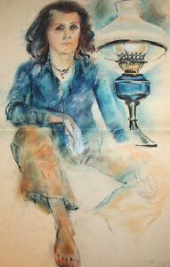 Vintage Woman portrait pastel painting