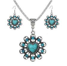 Set Betsey Johnson Charming Hollow Heart Flower Turquoise Necklace Earrings gift