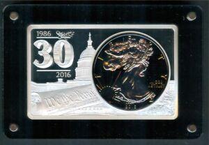 2016 Silver Eagle & 30th Anniv. 999 Silver Ingot w/Box & Cert.