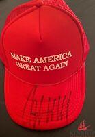 President Donald Trump signed MAGA Hat JSA LOA Bold Auto Rare Mike Pence Z520