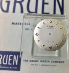 Vintage Gruen Autowind 580 sweep seconds watch dial gold markers 30mm 1950/60s