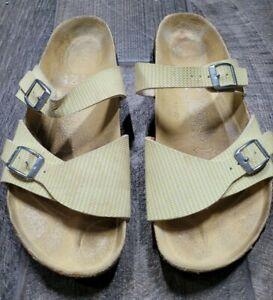 Birki's Aziza Yellow Stripe Double Strap Comfort Slides Women 39 EUR 8-8.5 US