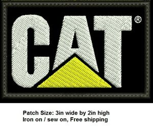 ***LOVE IT OR ITS FREE*** CAT-CATERPILLAR LOGO EMBROIDERED PATCH, IRON ON, F/S