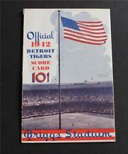 Official 1942 Detroit Tigers vs Yankees Score Card, Briggs Stadium