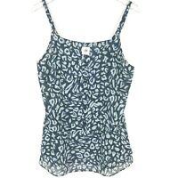 Cabi Womens Blue Gray Purr Semi Sheer Ruffle Cami Tank Top Blouse Medium #5362