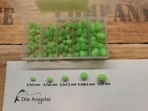 Soft fluoreszenz Leuchtperlen Sortimentbox  100 ovale Leuchtperlen in 5 Größen
