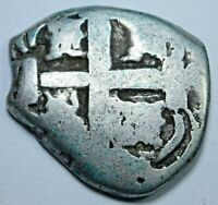 1759 Spanish Silver 1 Reales Antique 1700's Colonial Pirate Treasure Cob Coin
