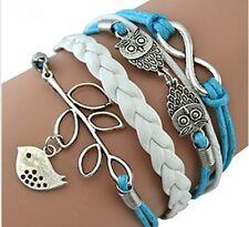 GirlZ!Fashion Vintage Leaf Bird Infinity Cross Owl Leather Bracelet
