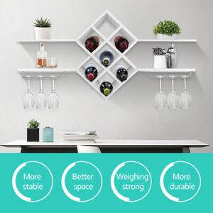 Wall Mounted Wine Glass Rack Bar Drinking Bottle Storage Shelf Display Shelving