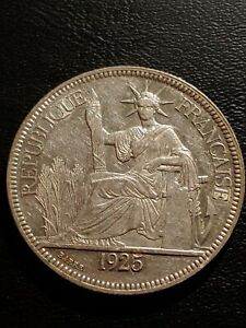French Indo-China, 1925 A, 1 Piastre Silver Coin.