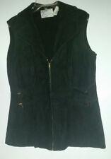 *Vintage Shayne British Crown Colony of Hong Kong Black Leather Long Vest Sz M/L