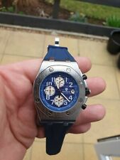 Mens Rubber Strap Watch Homage Chronograph Blue Diver/beach/offshore White sub