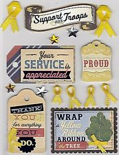 K & Company - Stitched Adornments *YELLOW RIBBON* Troops, Service, Proud, Thanks