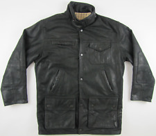 Barbour Bushman black real genuine leather jacket wool lining mens Medium M